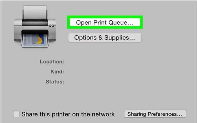 chọn open print queue