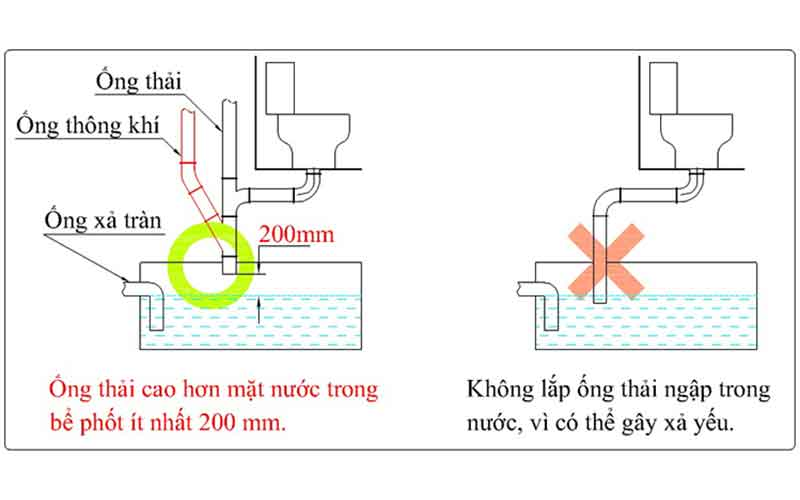 cách lắp ống thải xuống bể phốt